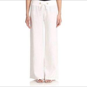 Lilly Pulitzer White Linen Beach Wide Leg Pants xs